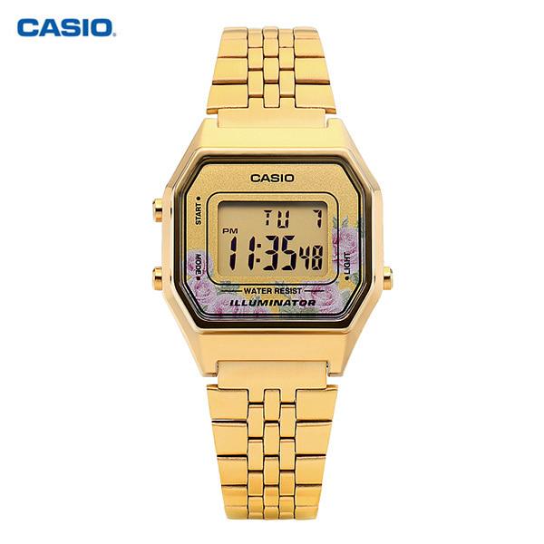 [카시오시계 CASIO] LA680WGA-4CDF (LA680WGA-4C) / 전자 디지털 빈티지 플라워 금장 여성 메탈시계 42mm 타임메카