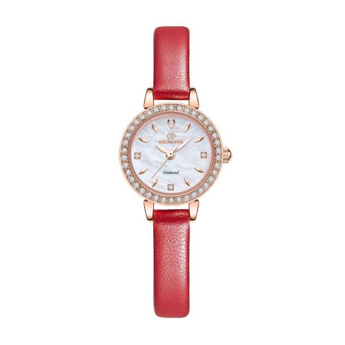 [디유아모르 DIEUAMOUR] DAW3101L-RD 벨리자 다이아몬드 레드 여성용 가죽시계 타임메카