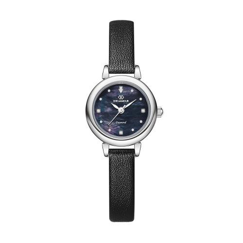 [디유아모르 DIEUAMOUR] DAW3102L-BK 론도 다이아몬드 블랙 여성용 가죽시계 타임메카