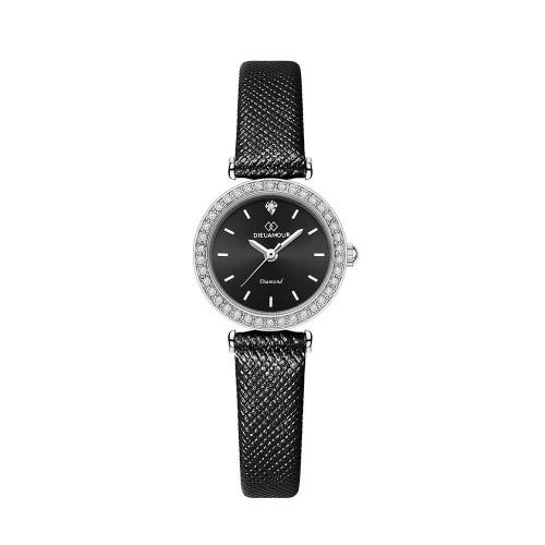 [디유아모르 DIEUAMOUR] DAW3201L-BK 심플 다이아몬드 블랙 여성용 가죽시계 타임메카