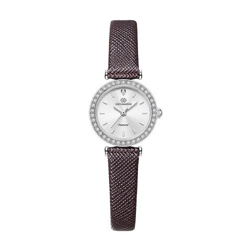 [디유아모르 DIEUAMOUR] DAW3201L-D.BR 심플 다이아몬드 다크브라운 여성용 가죽시계 타임메카