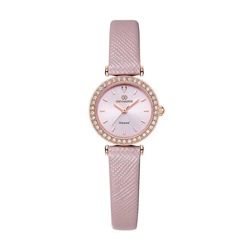 [디유아모르 DIEUAMOUR] DAW3201L-PK 심플 다이아몬드 핑크 여성용 가죽시계 타임메카