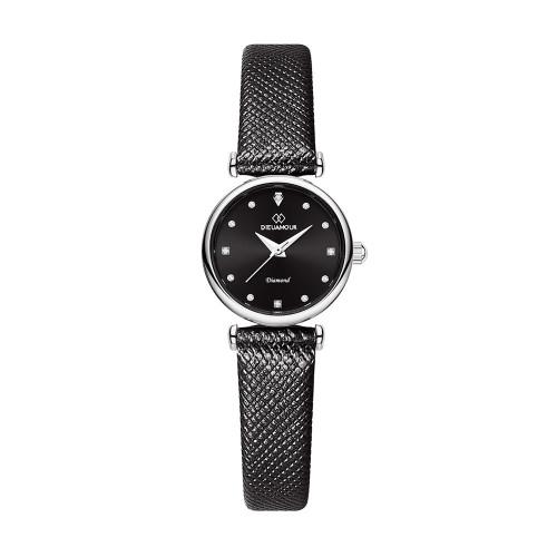 [디유아모르 DIEUAMOUR] DAW3202L-BK 루바토 다이아몬드 블랙 여성용 가죽시계 타임메카