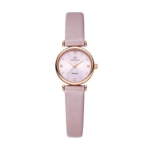 [디유아모르 DIEUAMOUR] DAW3202L-PK 루바토 다이아몬드 핑크 여성용 가죽시계 타임메카
