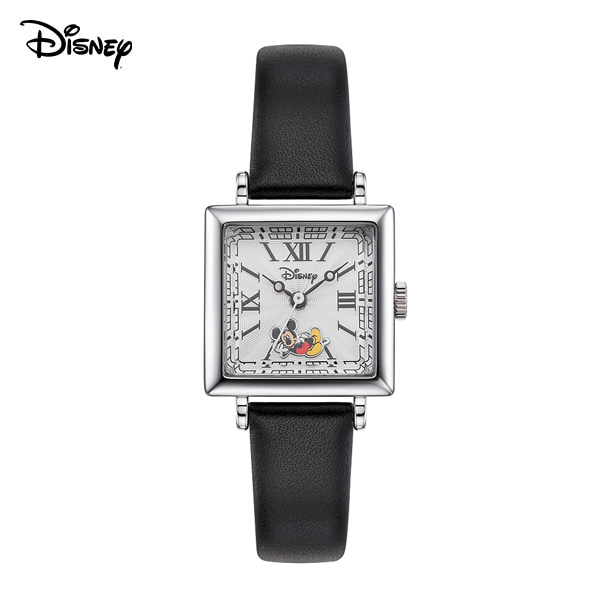 [디즈니시계 DISNEY] D11822BK 디즈니 뉴트로 미키마우스 여성용 가죽밴드 시계 22mm 본사정품 타임메카