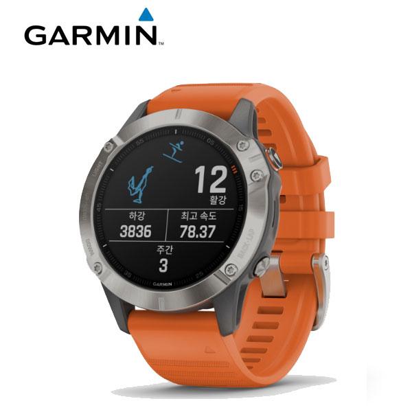 [가민 Garmin] Fenix 6 / 피닉스 6 사파이어 티타늄 그레이 / 오랜지 밴드 GPS 스마트워치 47mm 타임메카