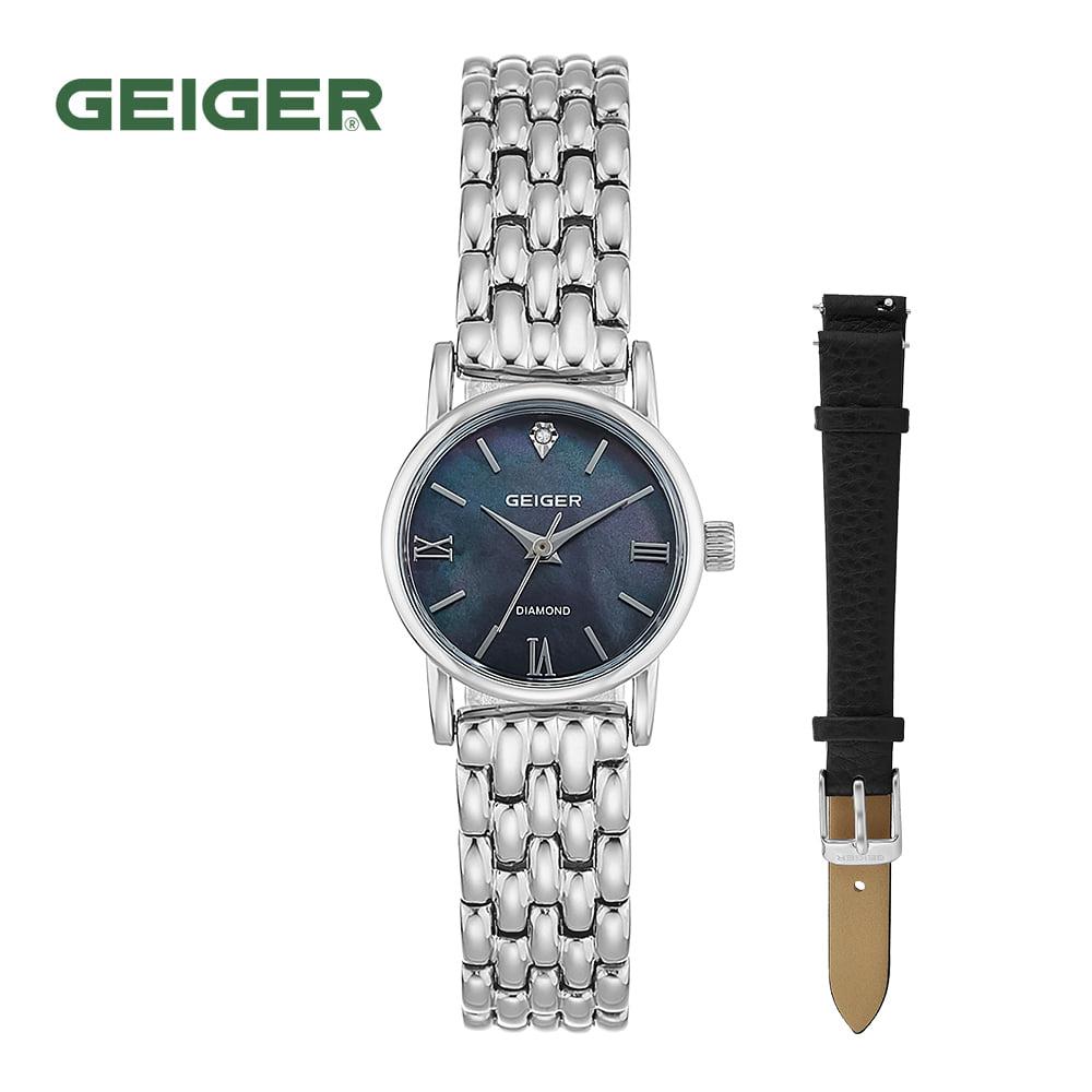 [가이거시계 GEIGER] GE1231BS 여성용 다이아몬드 메탈 시계 22mm 가죽밴드 1종 추가증정 타임메카