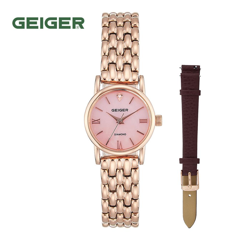 [가이거시계 GEIGER] GE1231PRG 여성용 다이아몬드 메탈 시계 22mm 가죽밴드 1종 추가증정 타임메카