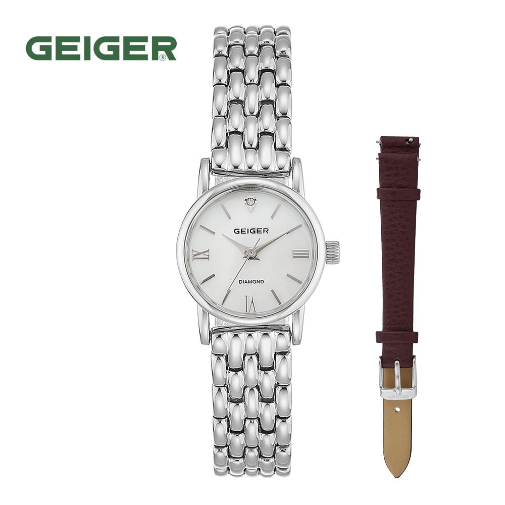 [가이거시계 GEIGER] GE1231WS 여성용 다이아몬드 메탈 시계 22mm 가죽밴드 1종 추가증정 타임메카