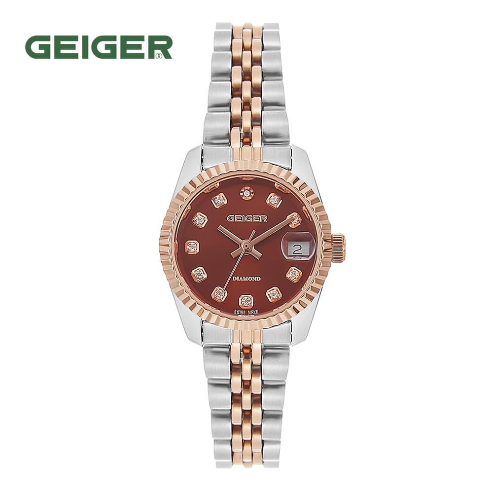 [가이거시계 GEIGER] GE8016RGCBL 여성용 다이아몬드 메탈 시계 레드 28mm 타임메카
