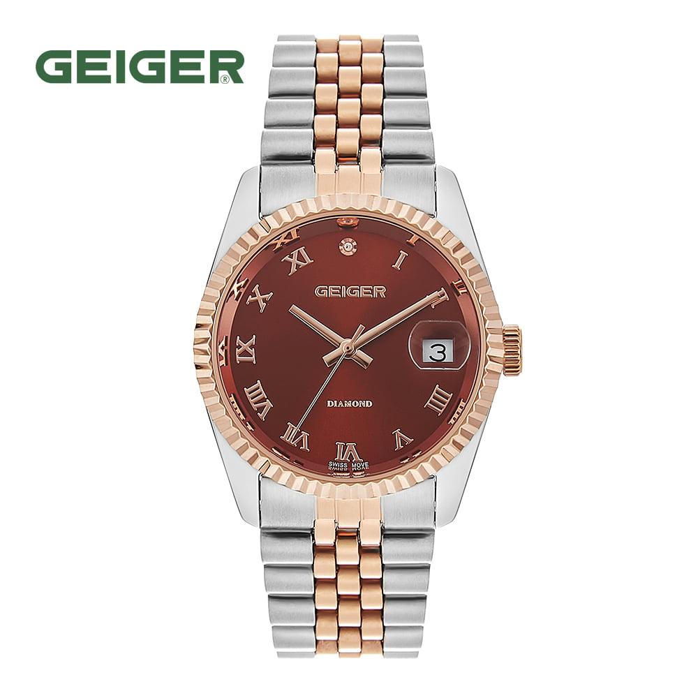[가이거시계 GEIGER] GE8016RGCBM 남성용 다이아몬드 메탈 시계 레드 36mm 타임메카