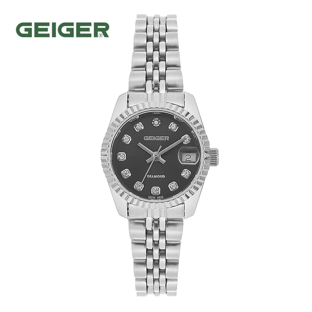[가이거시계 GEIGER] GE8016WBSL 여성용 다이아몬드 메탈 시계 그레이 28mm 타임메카