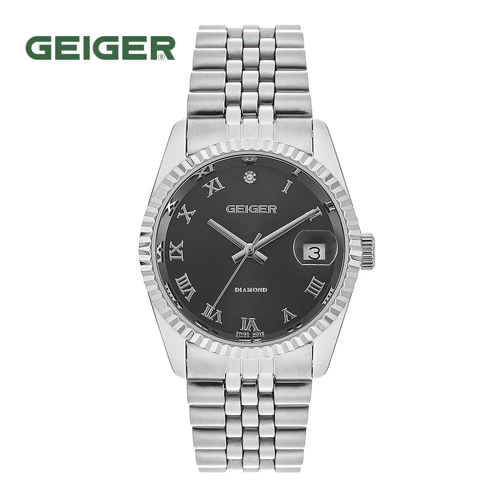 [가이거시계 GEIGER] GE8016WBSM 남성용 다이아몬드 메탈 시계 그레이 36mm 타임메카