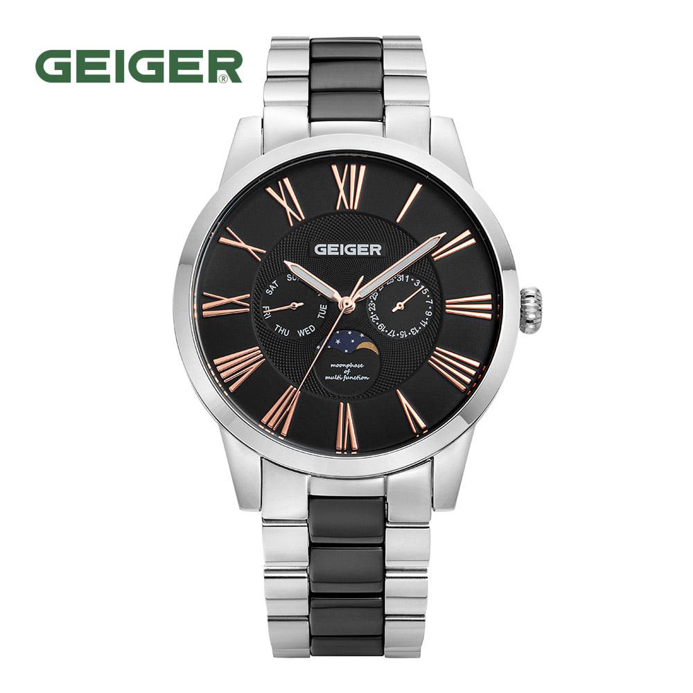 [가이거시계 GEIGER] GE8024WB 남성용 문페이즈 세라믹 멀티 메탈 시계 44mm 타임메카