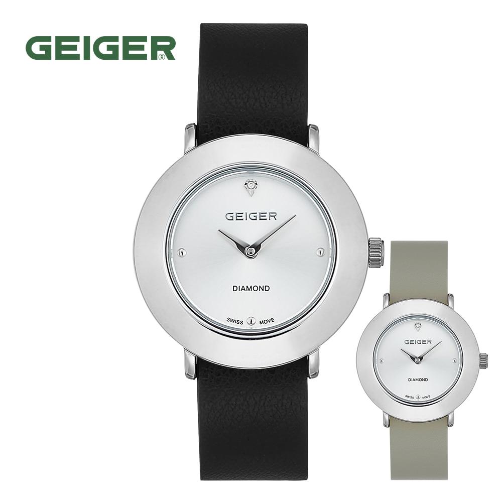 [가이거시계 GEIGER] GE8041WTBK 여성용 다이아 라운드 양면밴드 가죽 시계 34mm 타임메카