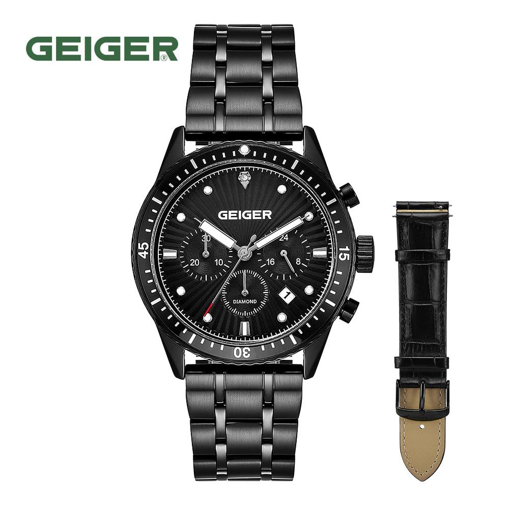[가이거시계 GEIGER] GE8047BB 남성용 다이아몬드 크로노그래프 메탈 시계 42mm 가죽밴드 1종 추가 증정 타임메카