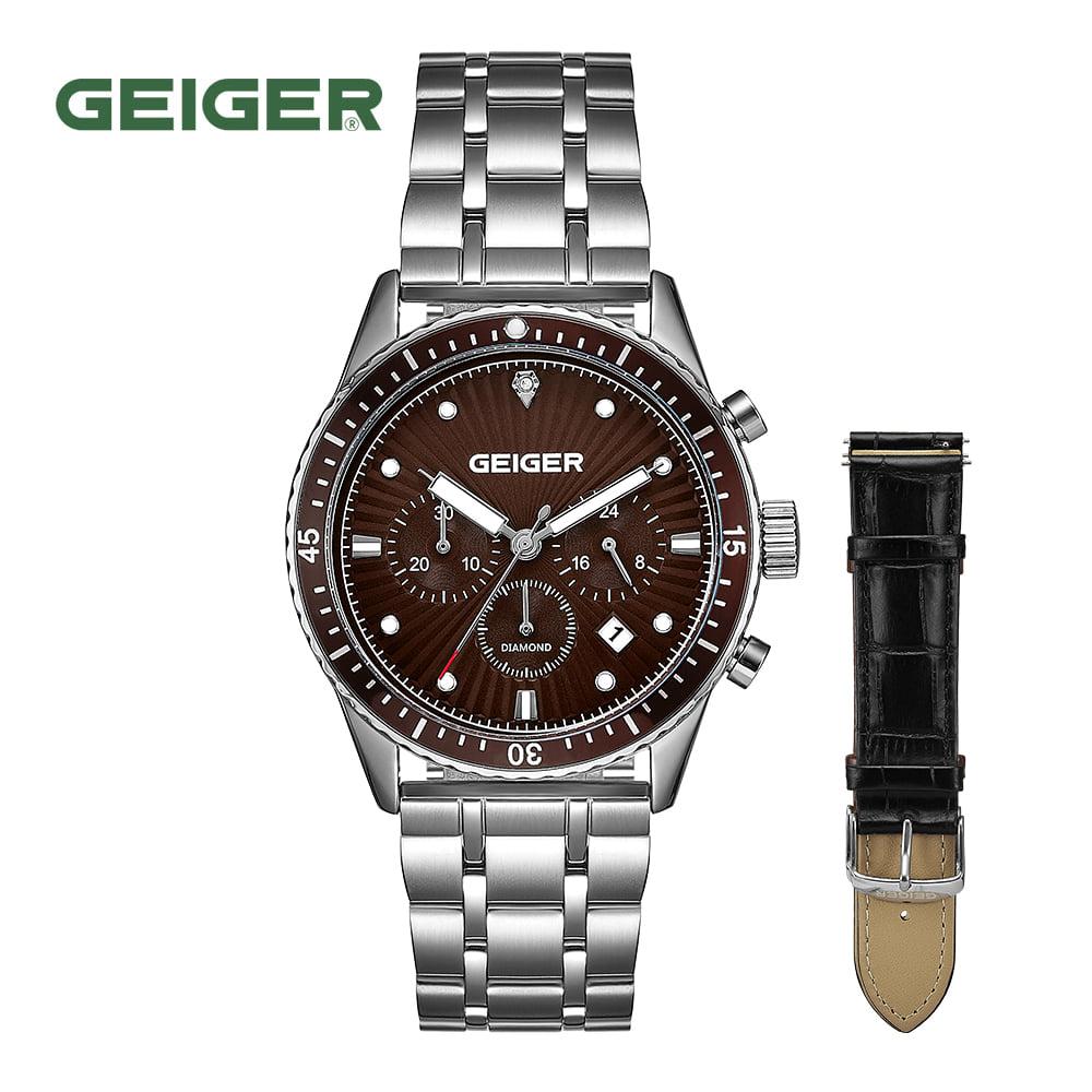 [가이거시계 GEIGER] GE8047BRS 남성용 다이아몬드 크로노그래프 메탈 시계 42mm 가죽밴드 1종 추가 증정 타임메카