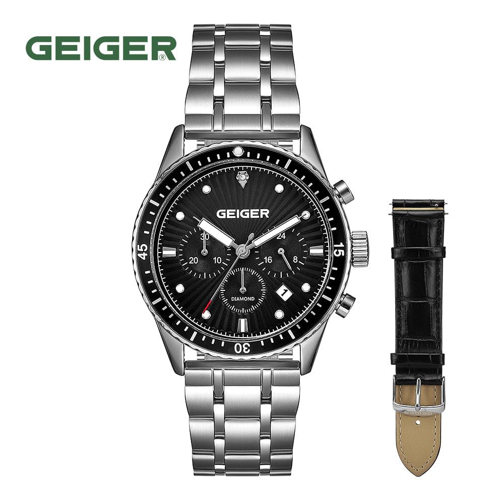 [가이거시계 GEIGER] GE8047BS 남성용 다이아몬드 크로노그래프 메탈 시계 42mm 가죽밴드 1종 추가 증정 타임메카