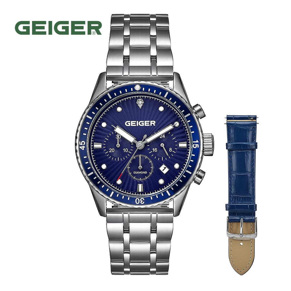 [가이거시계 GEIGER] GE8047BUS 남성용 다이아몬드 크로노그래프 메탈 시계 42mm 가죽밴드 1종 추가 증정 타임메카
