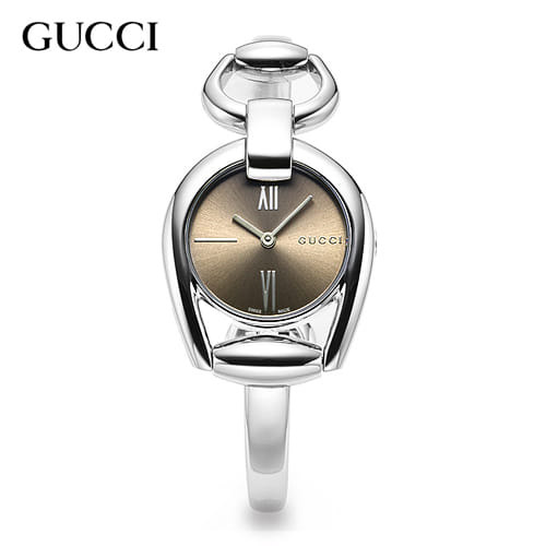 할로윈-) [구찌시계 GUCCI] YA139501 Horsebit Silver Brown Quartz [여성용] 28mm x 34mm