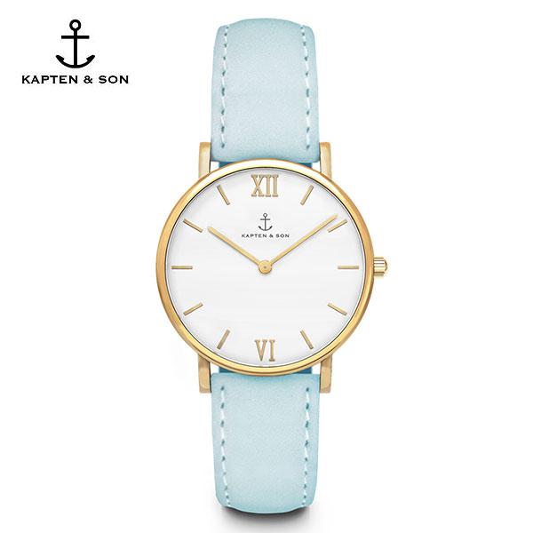 [캡튼앤썬 KAPTEN&SON] (4251145210137) Joy Lagoon Blue Velvet Leather 공용 손목시계