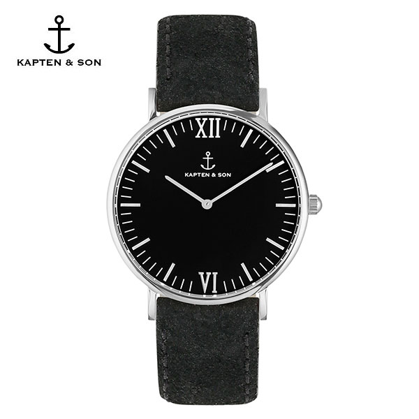 [캡튼앤썬 KAPTEN&SON] (4251145214523) Campus Silver All Black Vintage Leather 공용 손목시계 40mm