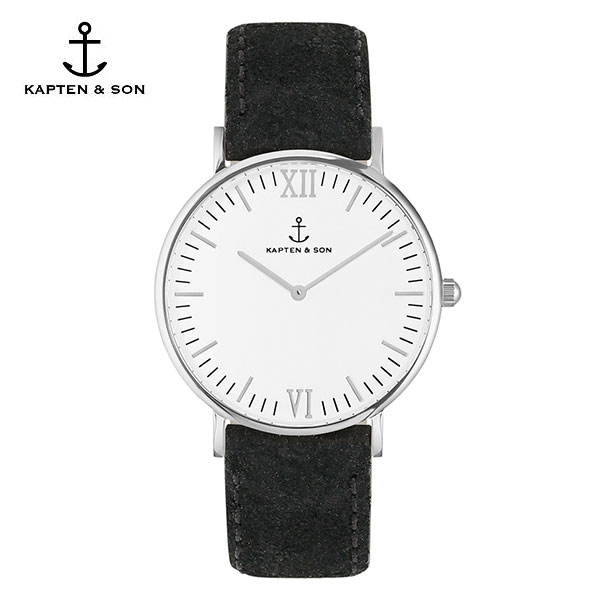 [캡튼앤썬 KAPTEN&SON] (4251145214524) Campus Silver Black Vintage Leather 공용 손목시계 40mm