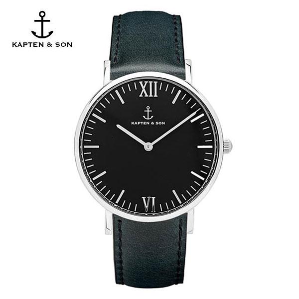 [캡튼앤썬 KAPTEN&SON] (4251145224516) Campus Silver All Black Leather 공용 손목시계