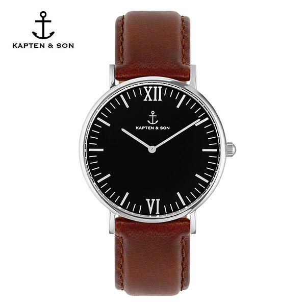 [캡튼앤썬 KAPTEN&SON] (4251145224530) Campus Silver Black Brown Leather 공용 손목시계