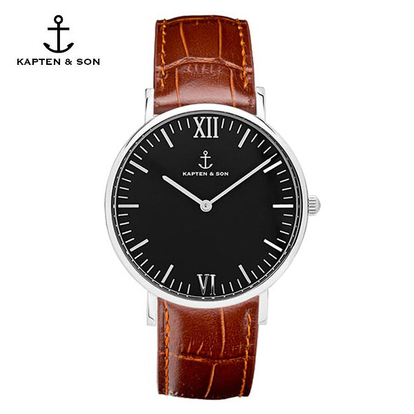 [캡튼앤썬 KAPTEN&SON] (4251145224561) Campus Silver Black Brown Croco Leather 공용 손목시계 40mm