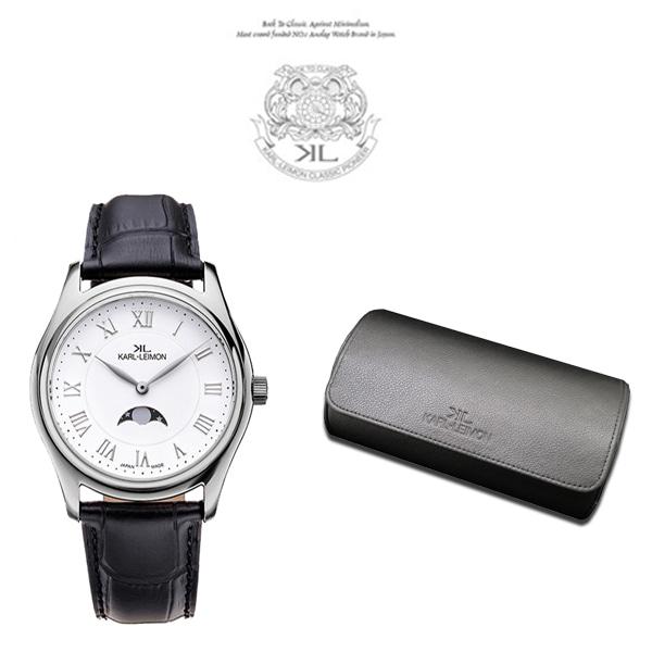 [칼레이먼 KARL-LEIMON] S2WH01 / Classic SimpliCityⅡ Silver White / 클래식 심플리시티Ⅱ 문페이즈 남성용 가죽시계 38mm