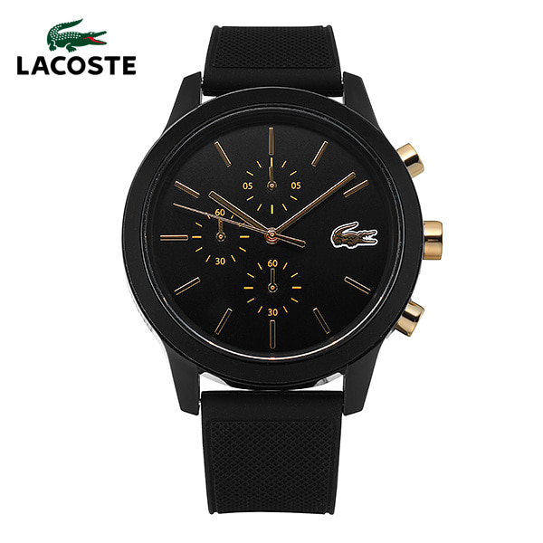 [라코스테시계 LACOSTE] 2011012 / 라코스테 12.12 크로노그래프 남성용 블랙 실리콘 시계 44mm 타임메카