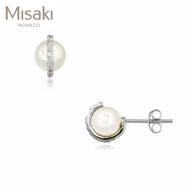 [미사키 MISAKI] EARRINGS CHARLESTON WHITE(QCRECHARLESTONWH) 진주귀걸이