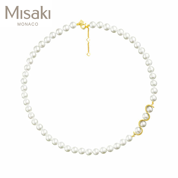 Jewelry-) [미사키 MISAKI] NECKLACE INITIALS GOLD(QCRNINITIALSGOLD) 진주목걸이