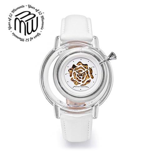 ☆-) [모먼트워치시계 MOMENTS] MWM0101 (오토매틱) 백장미 시계/EXID 하니시계!! 41mm