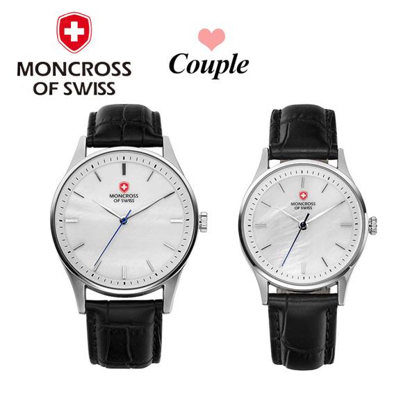 [몽크로스 MONCROSS] MS1730-WT / 커플가죽시계