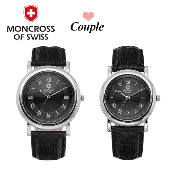 [몽크로스 MONCROSS] MS1731-BK / 커플가죽시계