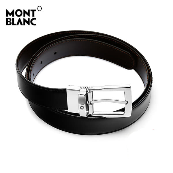 [몽블랑 MONTBLANC] 109738 은장사각 / BLACK&BROWN 클래식 양면벨트