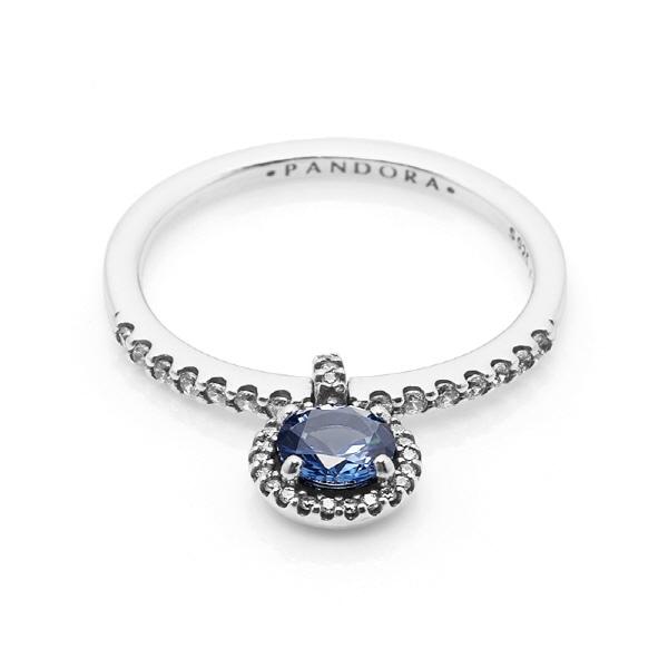 [판도라 PANDORA] 판도라 반지 198491C01 블루 댕글링 라운드 스파클링 실버 반지 타임메카