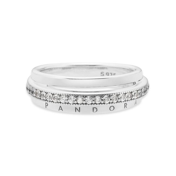 [판도라 PANDORA] 판도라 반지 199040C01 트리플 밴드 파베 실버 반지 타임메카