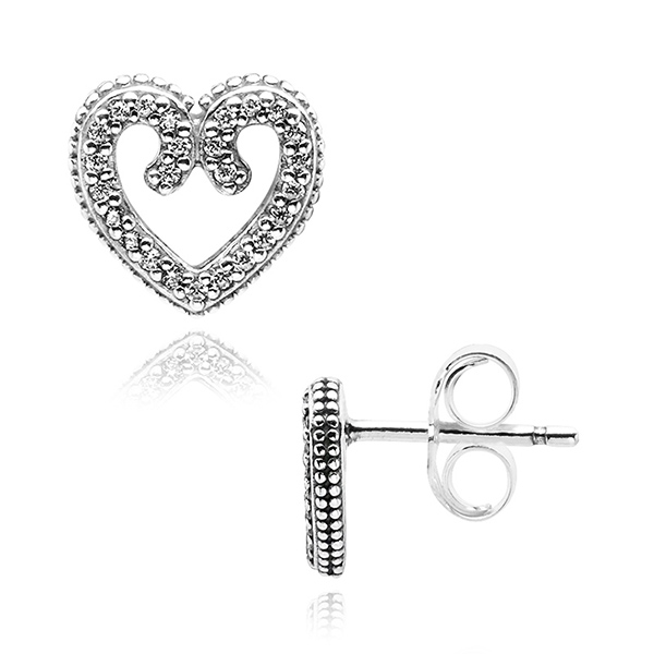 [판도라 PANDORA] 여성 판도라 귀걸이 297099CZ Heart Swirls Stud Earrings