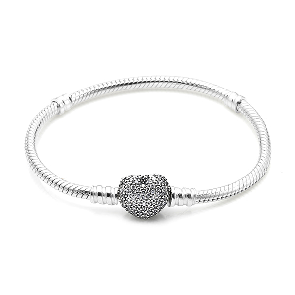 [판도라 PANDORA] 여성 판도라 팔찌 590727CZ MOMENTS SILVER BRACELET WITH PAVE HEART CLASP