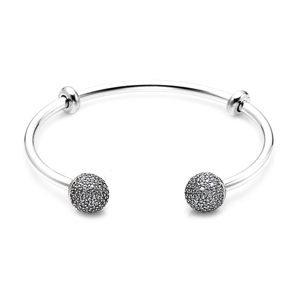[판도라 PANDORA] 여성 판도라 팔찌 596438CZ Moments Silver Open Bangle Pave Caps