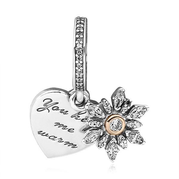 [판도라 PANDORA] 여성 판도라 댕글 참 792012CZ Snowflake Heart Pendant Charm