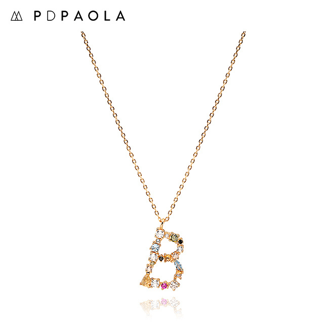 [피디파올라 PDPAOLA] CO01-097-U / LETTERS 컬렉션 이니셜 목걸이 B 옐로우골드 컬러 타임메카