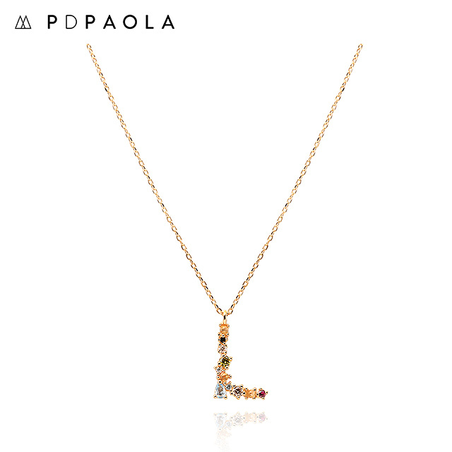 [피디파올라 PDPAOLA] CO01-107-U / LETTERS 컬렉션 이니셜 목걸이 L 옐로우골드 컬러 타임메카