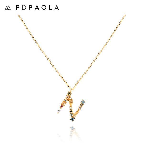 [피디파올라 PDPAOLA] CO01-109-U / LETTERS 컬렉션 이니셜 목걸이 N 옐로우골드 컬러 타임메카