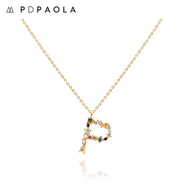 [피디파올라 PDPAOLA] CO01-111-U / LETTERS 컬렉션 이니셜 목걸이 P 옐로우골드 컬러 타임메카