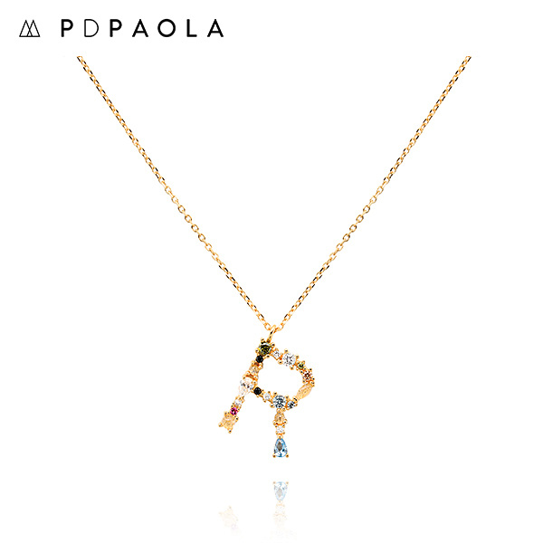 [피디파올라 PDPAOLA] CO01-113-U / LETTERS 컬렉션 이니셜 목걸이 R 옐로우골드 컬러 타임메카