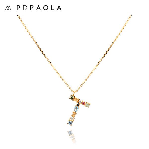 [피디파올라 PDPAOLA] CO01-115-U / LETTERS 컬렉션 이니셜 목걸이 T 옐로우골드 컬러 타임메카